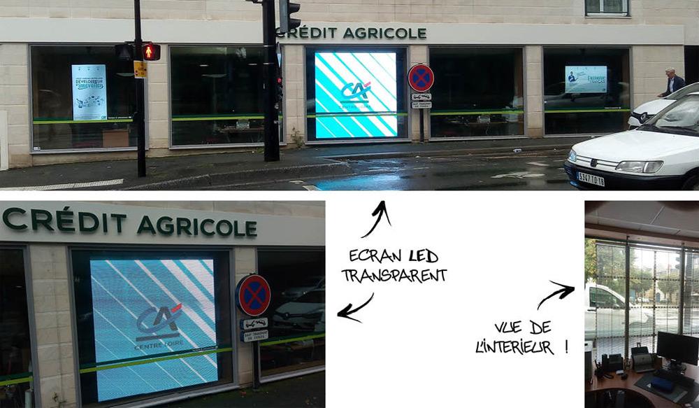 Vitrines 100% digitales pour credit agricole centre loire avec du led transparent