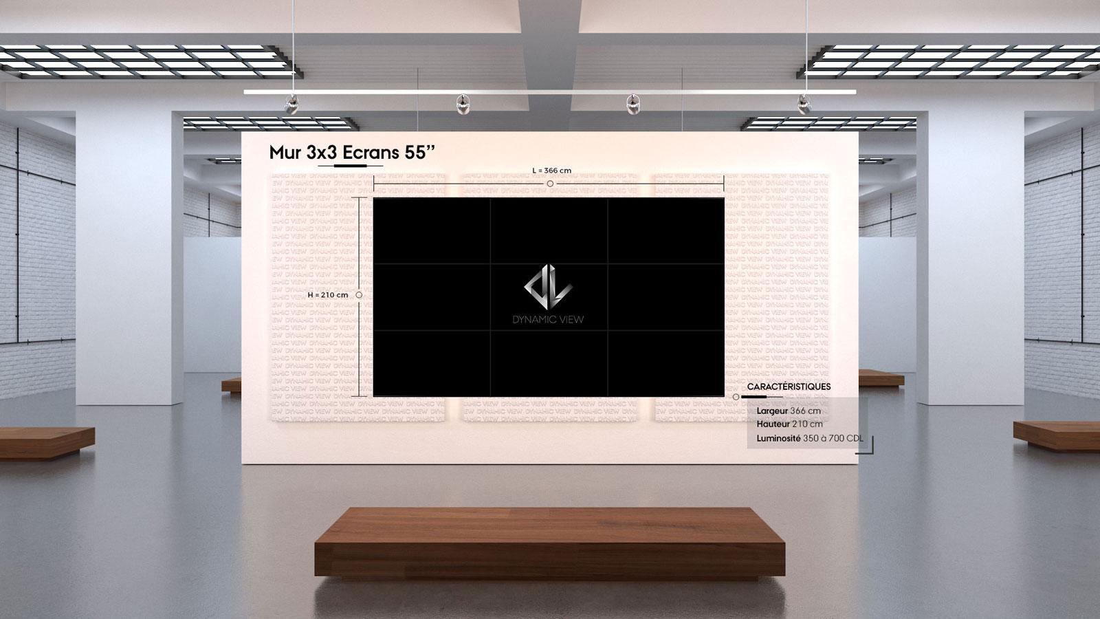 04 Mur 3x3 Ecrans 55''