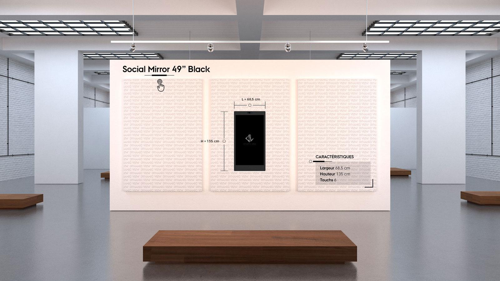 43 Social Mirror 49'' Black